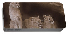Mountain Lion Trio On Alert Portable Battery Charger