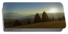 Mountain Panorama At Sunset With Beautiful Sun Glare Portable Battery Charger