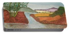 Portable Battery Charger featuring the painting Mountain Stream by Tracey Williams
