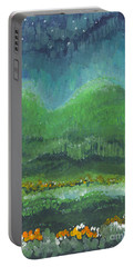 Portable Battery Charger featuring the painting Mountains At Night by Holly Carmichael