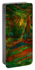 Portable Battery Charger featuring the mixed media Mountains In The Rain by Ally  White