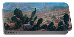 Portable Battery Charger featuring the painting Mourning Dove Desert Sands by Rob Corsetti