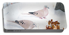 Mourning Doves Portable Battery Charger by Laurel Best