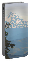 Portable Battery Charger featuring the painting Mt Hood by Karen Ilari