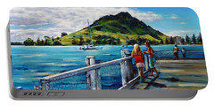 Portable Battery Charger featuring the painting Mt Maunganui Pier 140114 by Selena Boron