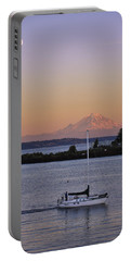 Mt. Rainier Afterglow Portable Battery Charger by Adam Romanowicz