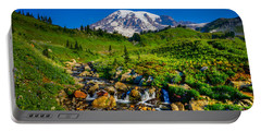 Mt. Rainier Stream Portable Battery Charger by Chris McKenna