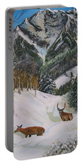 Mule Deer In Winter Portable Battery Charger