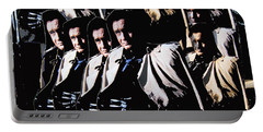 Portable Battery Charger featuring the photograph Multiple Johnny Cash In Trench Coat 1 by David Lee Guss