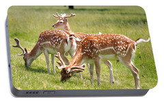 Multitasking Deer In Richmond Park Portable Battery Charger by Rona Black