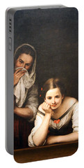 Murillo's Two Women At A Window Portable Battery Charger by Cora Wandel