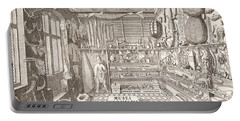 Museum Of Ole Worm, Leiden, 1655 Engraving Portable Battery Charger