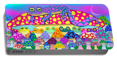 Mushroom Meadow Frogs Portable Battery Charger