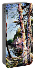 Portable Battery Charger featuring the painting Muskoka Reflections by Hanne Lore Koehler