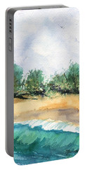 Portable Battery Charger featuring the painting My Secret Beach by Marionette Taboniar
