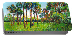 Portable Battery Charger featuring the painting Myakka Palms by Lou Ann Bagnall