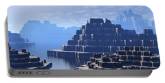 Portable Battery Charger featuring the digital art Mysterious Terraced Mountains by Phil Perkins
