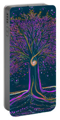 Mystic Spiral Tree 1 Purple Portable Battery Charger