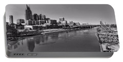 Nashville Skyline In Black And White At Day Portable Battery Charger by Dan Sproul
