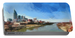 Nashville Skyline Panorama Portable Battery Charger by Dan Sproul