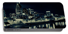 Nashville Skyline Reflected At Night Portable Battery Charger by Dan Sproul