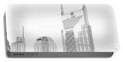 Nashville Skyline Sketch Batman Building Portable Battery Charger by Dan Sproul