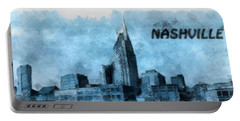 Nashville Tennessee In Blue Portable Battery Charger by Dan Sproul
