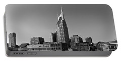 Nashville Tennessee Skyline Black And White Portable Battery Charger by Dan Sproul