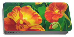 Portable Battery Charger featuring the painting Nasturtiums by Karen Ilari