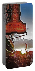 Portable Battery Charger featuring the photograph Nathan's Famous Coney Island Sunset Frankfurters by Andy Prendy