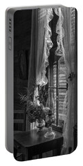 Native Flowers In Vase And Ruffled Curtains Portable Battery Charger