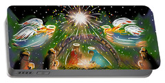 Portable Battery Charger featuring the painting Nativity by Jean Pacheco Ravinski
