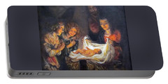 Portable Battery Charger featuring the painting Nativity Scene Study by Donna Tucker