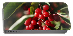 Natures Gift Of Red Berries Portable Battery Charger