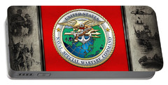 Naval Special Warfare Command - N S W C - Emblem  Over Navy Seals Collage Portable Battery Charger