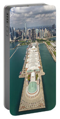 Navy Pier Chicago Aerial Portable Battery Charger by Adam Romanowicz