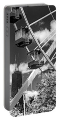 Navy Pier Ferris Wheel Black And White Portable Battery Charger
