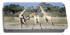 Portable Battery Charger featuring the photograph Necking Giraffes Botswana by Liz Leyden