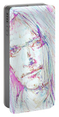 Neil Young - Colored Pens Portrait Portable Battery Charger by Fabrizio Cassetta