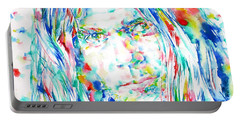 Neil Young - Watercolor Portrait Portable Battery Charger by Fabrizio Cassetta
