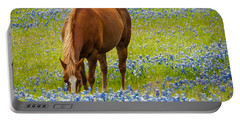 Nelly Grazing Among The Bluebonnets Portable Battery Charger