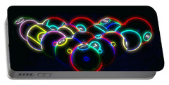 Neon Pool Balls Portable Battery Charger by Kathy Churchman