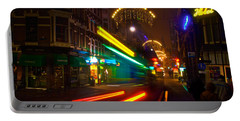 Neon Tram Leidestraat Portable Battery Charger by Jonah  Anderson