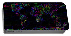 Neon World Map Portable Battery Charger by Zaira Dzhaubaeva