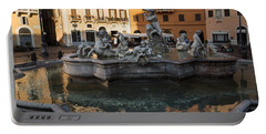 Portable Battery Charger featuring the photograph Neptune Fountain Rome Italy by Georgia Mizuleva