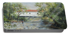 Portable Battery Charger featuring the painting New Jersey's Last Covered Bridge by Katalin Luczay