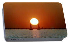 Portable Battery Charger featuring the photograph New Orleans Sailing Sun On Lake Pontchartrain by Michael Hoard