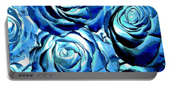 Pop Art Blue Roses Portable Battery Charger