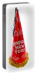 Happy New Year Party Hat Portable Battery Charger by Vizual Studio