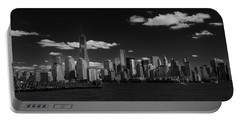 New York 1 Black And White Portable Battery Charger